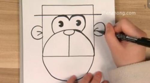 正方形简笔画之猴子先生